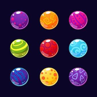 Piedras brillantes coloridas y botones con destellos
