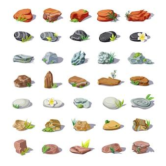 Piedras de colores de dibujos animados con cantos rodados, guijarros, areniscas, escombros, adoquines, rocas de diferentes formas aisladas