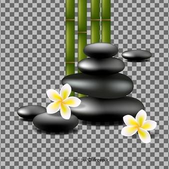 Piedras y flores realistas de spa