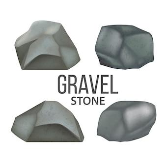 Piedras de grava, conjunto de escombros de piedras de campo pesado