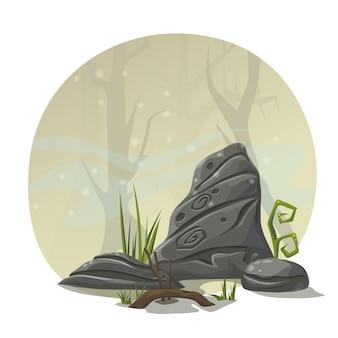 Piedras, hierba y raíces