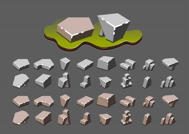 Piedras isométricas para videojuegos.