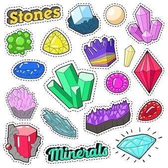 Piedras de joyas y minerales juego de colores para pegatinas, insignias, parches. vector, garabato
