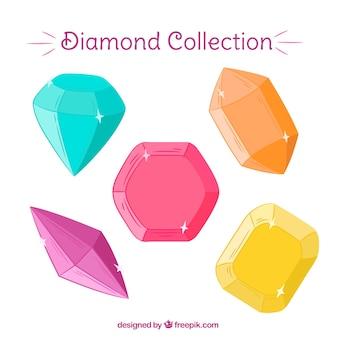Piedras preciosas de colores dibujadas a mano