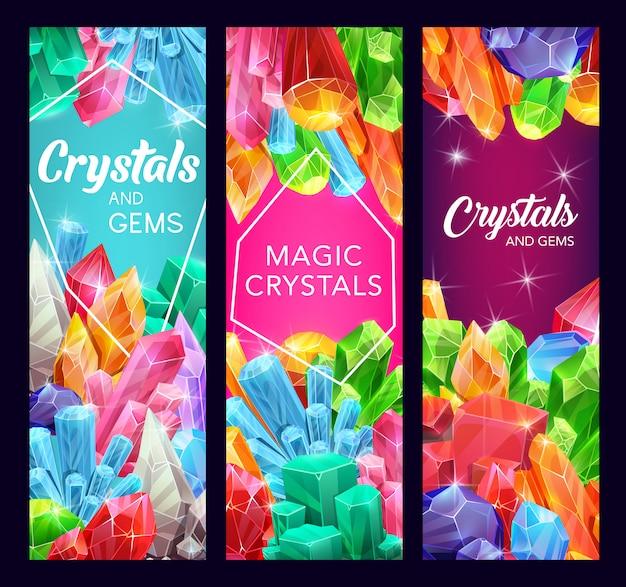 Piedras preciosas de cristal y minerales de dibujos animados de piedras preciosas