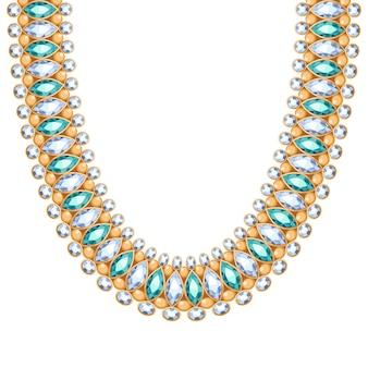 Piedras preciosas diamantes y esmeraldas cadena collar o pulsera de oro. accesorio de moda personal estilo étnico indio.