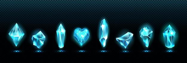 Piedras preciosas de esmeralda, cristales de vidrio azul brillante
