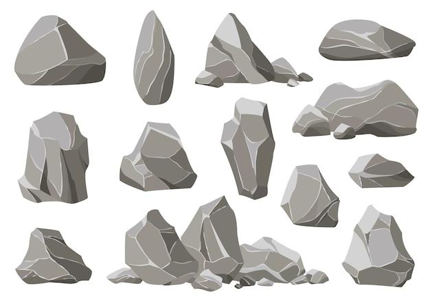 Piedras de roca y escombros de la montaña. montón de grava, piedra gris de dibujos animados aislado