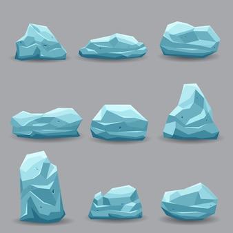 Piedras de roca de hielo azul establecen colección de arte vectorial