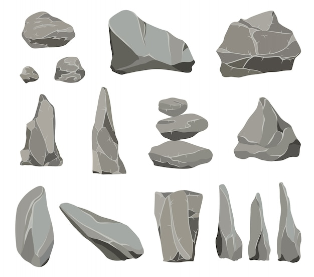 Piedras de roca. la piedra de grafito, el carbón y las rocas se amontonan para el guijarro de pared o montaña.