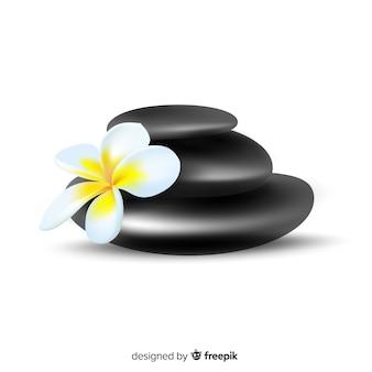 Piedras de spa realistas con flores