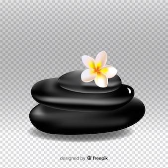Piedras de spa realistas con flores.