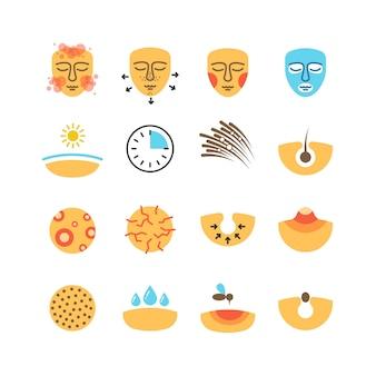 Piel, problemas faciales, tratamiento del acné, proteger iconos vectoriales