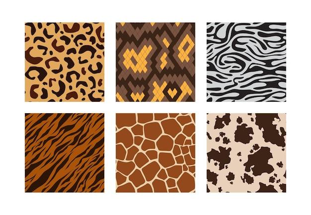 Pieles de animales. patrón de animales de la selva africana leopardo tigre cebra jirafa vector colección de patrones sin fisuras
