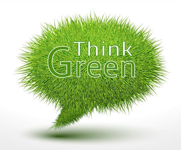Piensa concepto verde sobre hierba