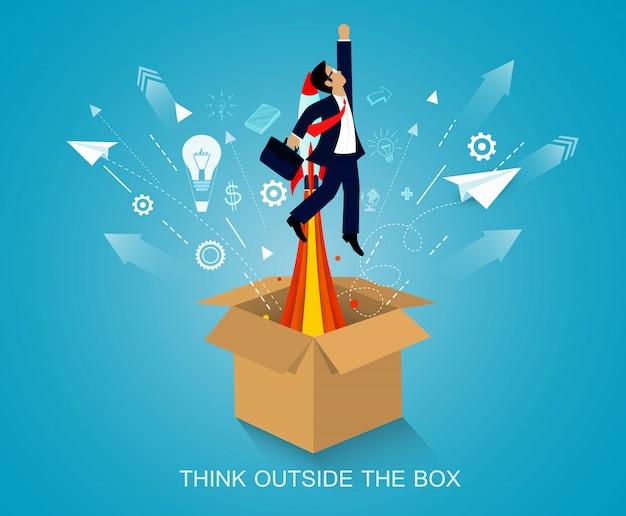 Piensa fuera de la caja, el transbordador espacial se lanza al cielo sobre fondo azul