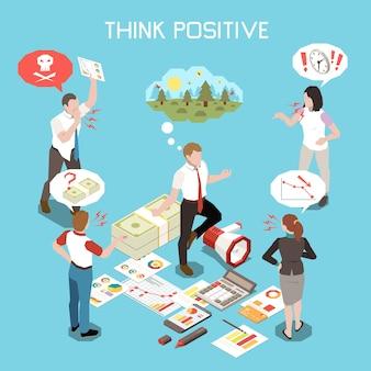 Piensa en la ilustración isométrica positiva