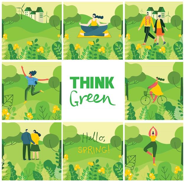 Piensa verde. fondo de naturaleza ecológica con diferentes personas, pareja haciendo actividades, yoga, deporte, caminar y descansar al aire libre, en el bosque y parque en el estilo plano