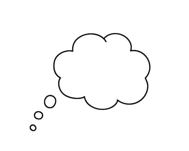 Piense en burbujas aisladas sobre fondo blanco. vector pensar burbuja en estilo plano. elemento de moda para redes sociales y diseño de impresión.