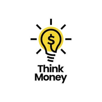 Piense en dinero bombilla lámpara dólar idea inteligente plantilla de logotipo