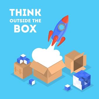 Piense fuera de la caja de banner web. pensamiento creativo