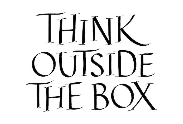 Piense fuera de la caja letras dibujadas a mano
