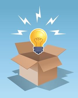Piense fuera de la ilustración de vector de diseño gráfico de caja
