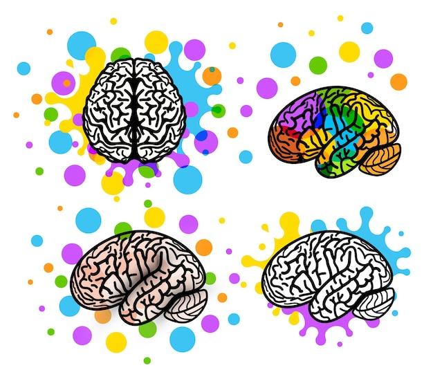 Piense en idea logo concepto cerebro silueta diseño vector arte ilustración logotipos establecer plantilla