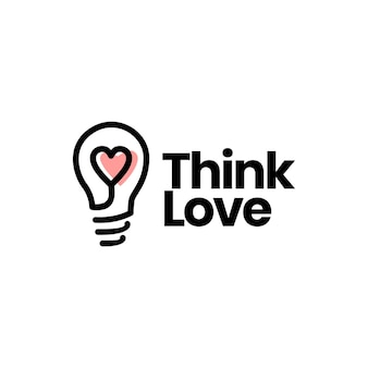 Piense en la plantilla de logotipo de corazón de idea de bombilla de amor