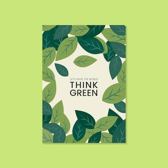 Piense vector de folleto de conservación ambiental verde