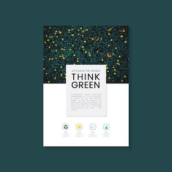 Piense vector de folleto de conservación del medio ambiente verde