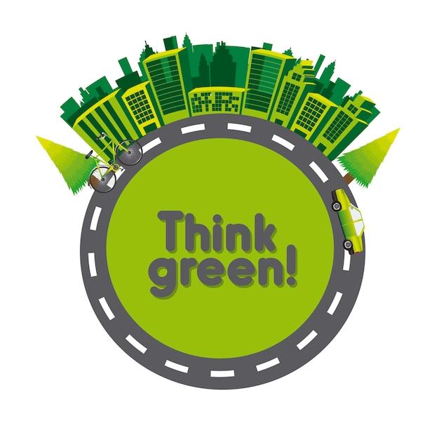 Piense en verde con edificios con transporte sobre fondo blanco ilustración vectorial