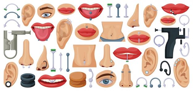 Piercing conjunto de iconos de dibujos animados. cuerpo de ilustración aislada sobre fondo blanco. conjunto de dibujos animados icono piercing.
