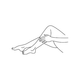Pierna femenina de vector. estilo de línea. aislado sobre fondo blanco. para salón de spa, cosmética ecológica.