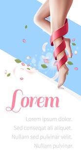 Piernas femeninas lisas con una piel perfecta, spa flyer