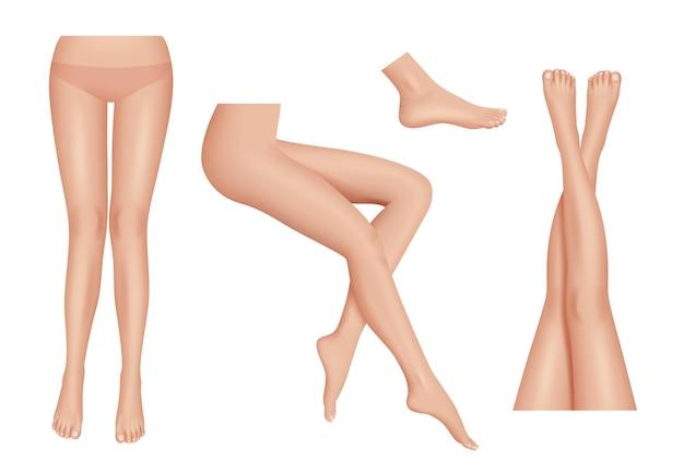 Piernas realistas. partes del cuerpo de las piernas de la mujer de la belleza limpian sano conjunto. pies partes femeninas del cuerpo, dama atractiva ilustración desnuda