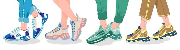 Piernas en zapatillas de deporte. piernas femeninas o masculinas con zapatillas modernas, piernas de personas en formadores de moda, ilustración de calzado deportivo con estilo. moda de zapatillas, pie para caminar, atleta hipster