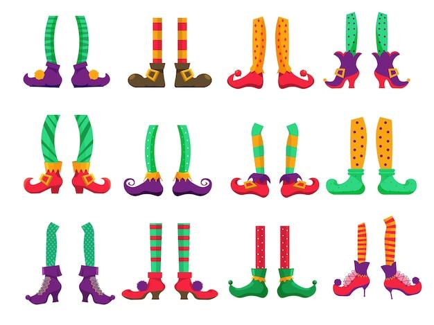 Pies de elfo. pies de elfo navideño con pantalones y botas conjunto de iconos sobre fondo blanco. leprechaun o mágico santa claus helper enano vacaciones personaje pierna en calcetines y zapatos ilustración