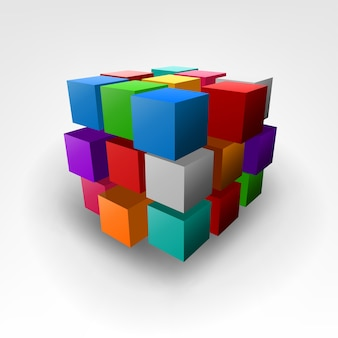 Pieza abstracta colorida de la ilustración del vector del cubo