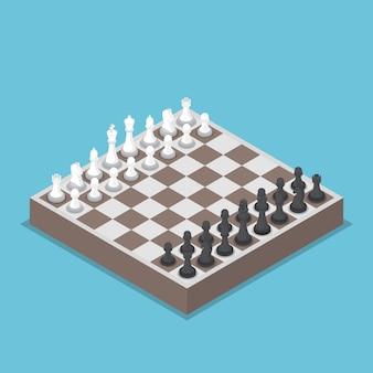 Pieza de ajedrez isométrica o ajedrecistas con tablero