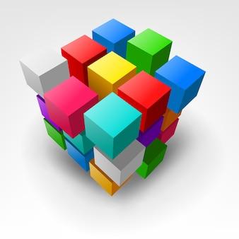 Pieza colorida abstracta de la ilustración 3d del cubo