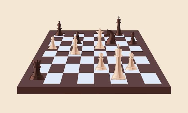 Piezas de ajedrez en blanco y negro sobre tablero de ajedrez aislado. juego de estrategia jugado en tablero a cuadros.