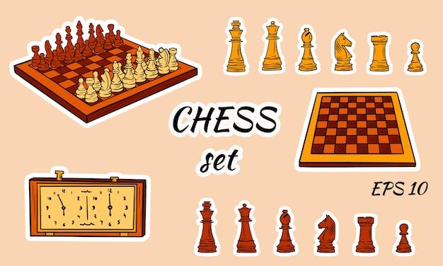 Piezas de ajedrez de dibujos animados.