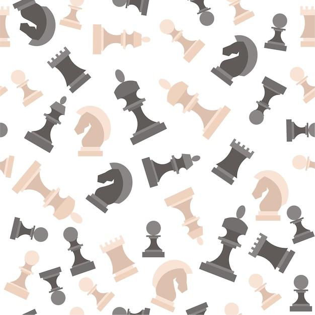 Piezas de ajedrez. figuras patrón de fondo blanco y negro.