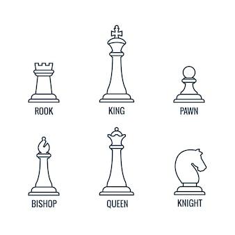 Piezas de ajedrez iconos de líneas finas rey reina obispo torre caballero peón