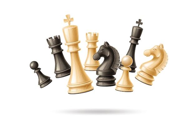 Piezas de ajedrez realistas saltando en grupo.