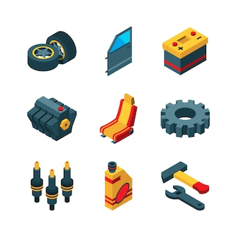 Piezas de automóvil. automóvil herramientas motor transmisión volante tubo de escape isométrica colección de iconos