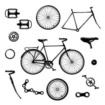 Piezas de bicicleta. conjunto de vector aislado de equipos y componentes de bicicleta