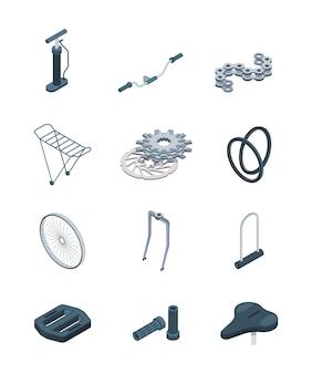 Piezas de bicicleta. cuadro de acero con manivela, asiento, horquilla, pedal, imágenes isométricas de bicicleta