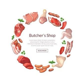 Piezas de carne de dibujos animados en forma de círculo con lugar para el texto en el centro alrededor de ilustración